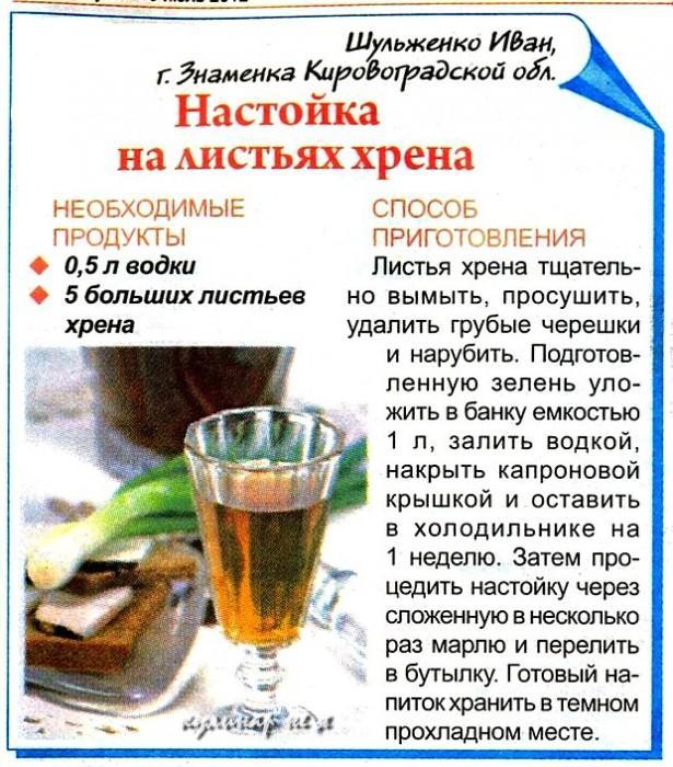 Рецепт настойки на листьях хрена