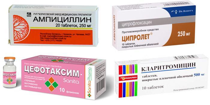 Медикаменты «Ампициллин» «Ципролет» «Цефотаксим» «Кларитромицин»